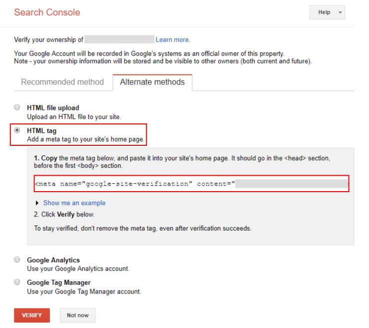 구글 서치 콘솔 웹사이트 증명방법: HTML TAG