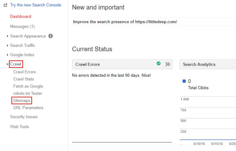 서치콘솔 Crawl > Sitemaps 확인하기