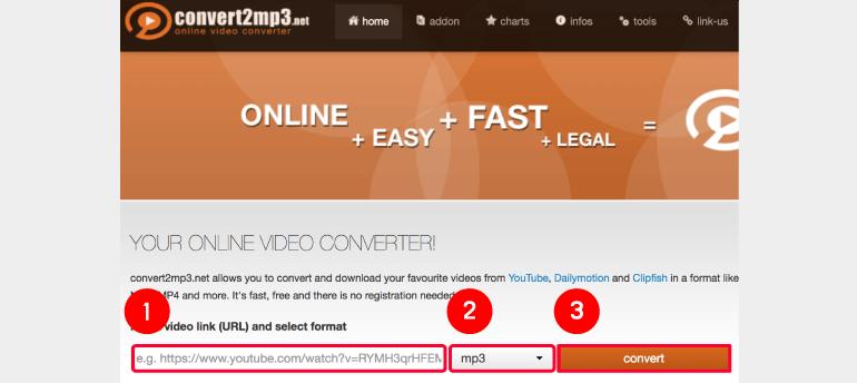 convert2mp3 웹사이트로 접속합니다