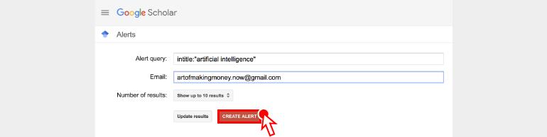 알림 검색어 / 이메일 / 알림 결과 수를 설정한 뒤 '알림 만들기' 를 클릭합니다.