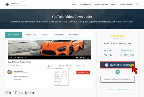 YouTube Video Downloader 사이트로 방문해서 'Download For Chrome' 버튼을 클릭해서 파일을 다운받아주세요.