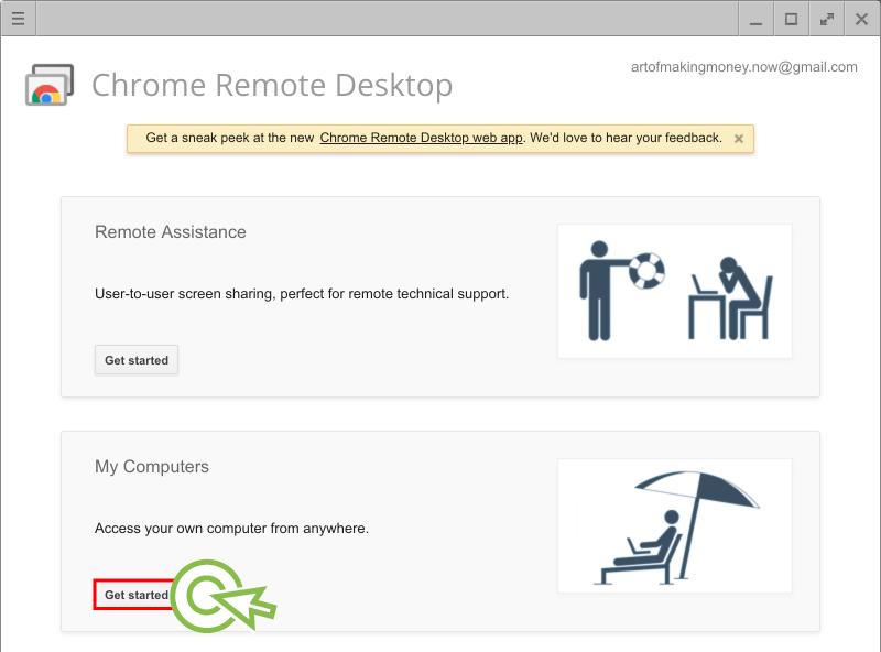 """4) 아래와 같이 실행된 팝업에서 지금 이 PC를 원격 접속이 가능하도록 하기 위해 아래 """"My Computers""""에 있는 """"Get Started"""" 버튼을 클릭해주세요."""