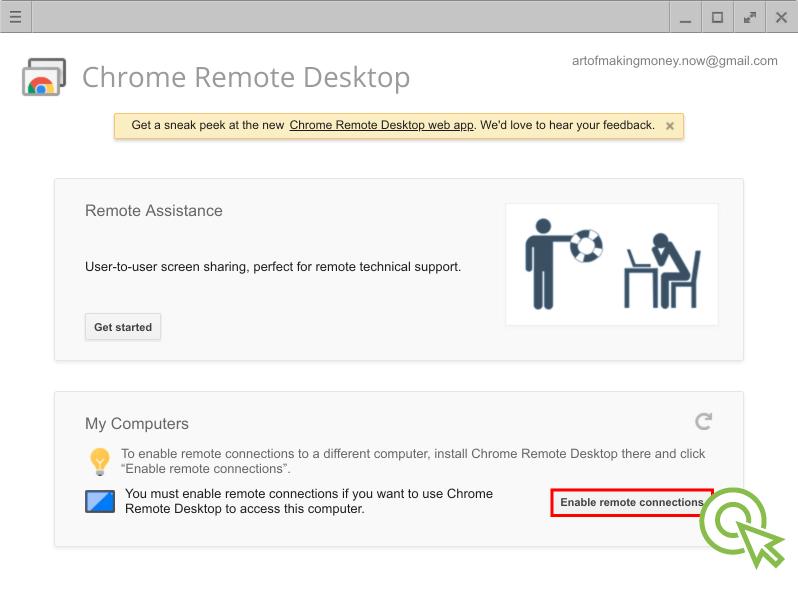 "5) ""Enable remote connections"" 버튼을 클릭해서 원격 데스크톱 연결이 가능하도록 합니다."