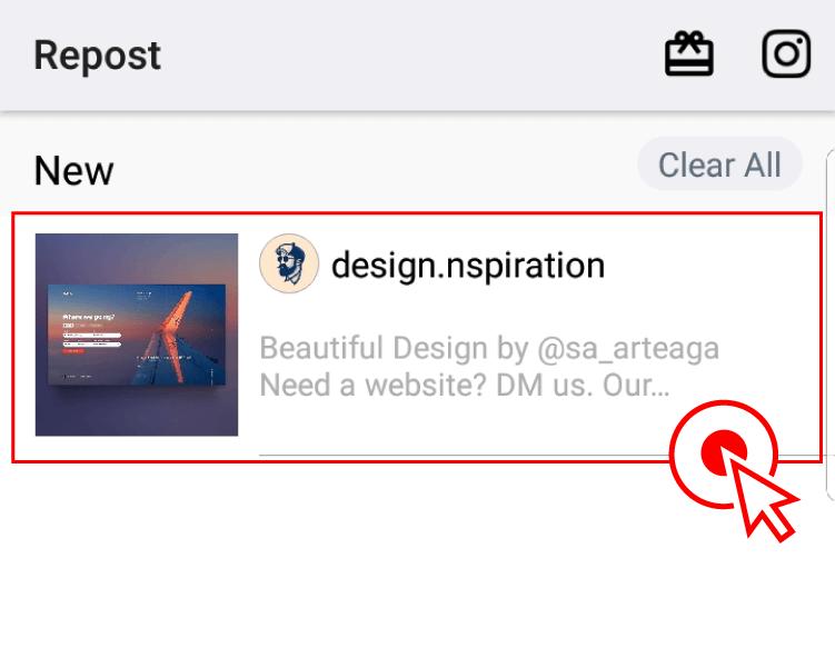 """5)인스타그램 앱에서 나간 뒤에, """"Repost for Instagram"""" 앱으로 다시 들어오면 아래와 같이 링크복사를 했던 게시물이 나타난 것을 확인할 수 있습니다. 여기서 해당 게시물을 선택해주세요."""