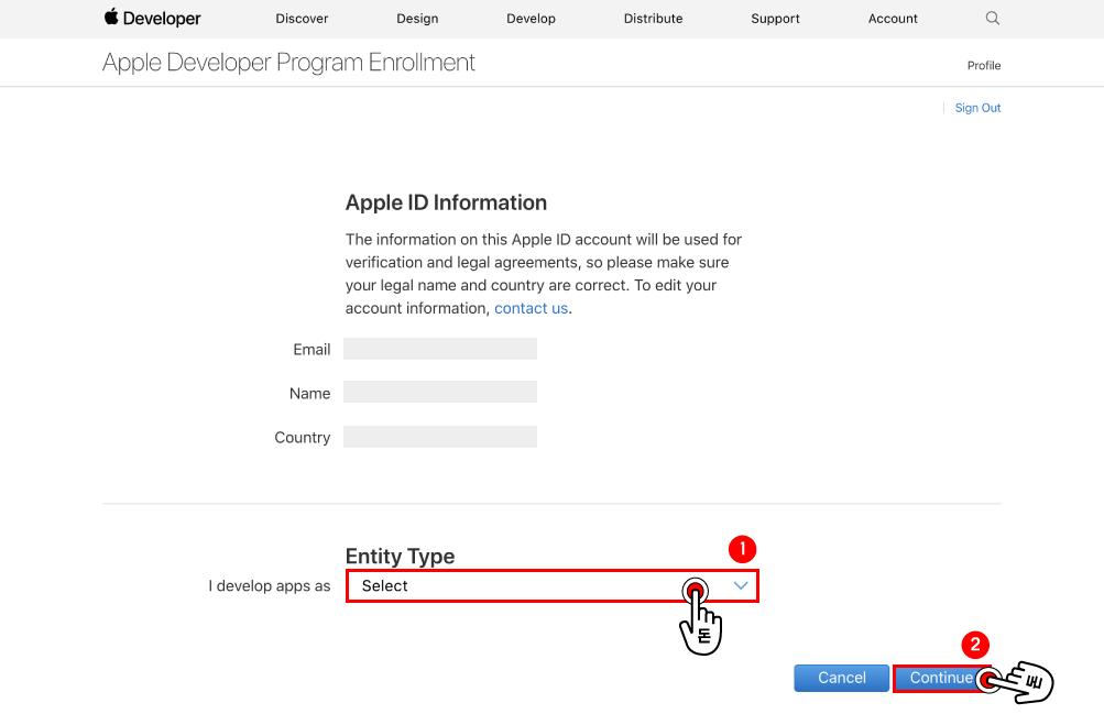 등록을 하기 위해서 개인으로 등록하는 것인지, 아니면 그룹, 단체 또는 회사로써 가입을 하는 것인지 선택하기 전에 미리 간략한 설명을 제공하는 곳입니다. 확인 후 아래에 있는 Start Your Enrollment 버튼을 클릭해주세요.