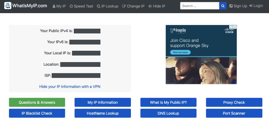 사이트로 방문해주세요. 여기서 나오는 첫 페이지에는 자신의 사설/공인 IP 주소 뿐만 아니라, 현재 위치 인터넷 회사ISP까지 확인해볼 수 있습니다.