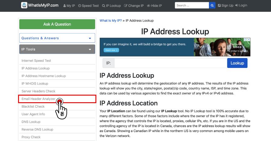 왼편에 있는 메뉴 중 Email Header Analyzer 옵션을 클릭해주세요.