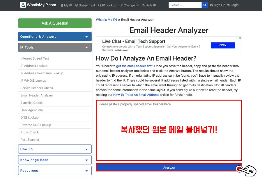 아까 복사했던 원본 메일을 빈 칸에 붙여넣기 한 다음 Analyze 버튼을 클릭해주세요.