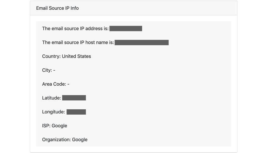 아래와 같이 메일을 보낸 사람에 대한 정보를 확인할 수 있습니다.
