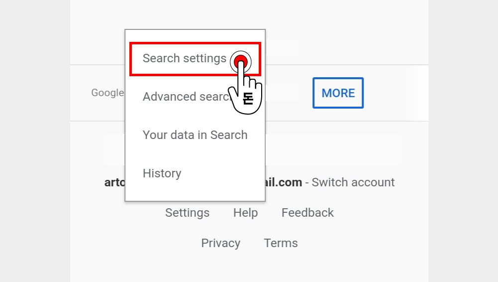 셋팅으로 나온 옵션 중에서 검색엔진 환경 셋팅을 위해 Search settings을 탭해주세요.