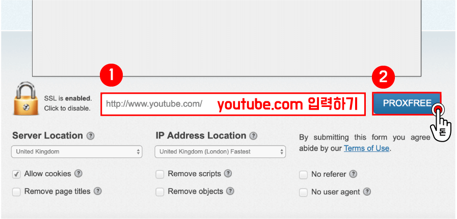 원하는 나라로 설정을 했으면, 표시된 입력란에 youtube.com 을 입력해주시고, 오른쪽에 있는 PROXFREE 버튼을 클릭해주세요.