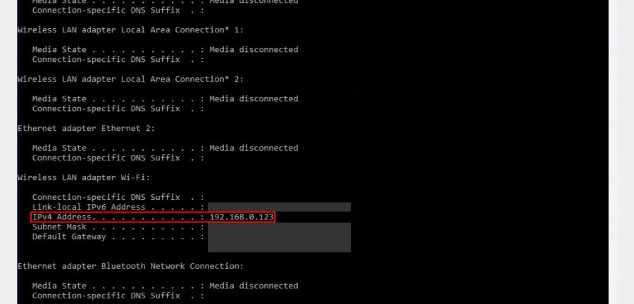 아래 보시는 것과 같이 윈도우 IP 구성관련 정보가 나오고 표시된 부분에서 공유기에서 부여된 사설 IP 주소를 확인할 수 있습니다.