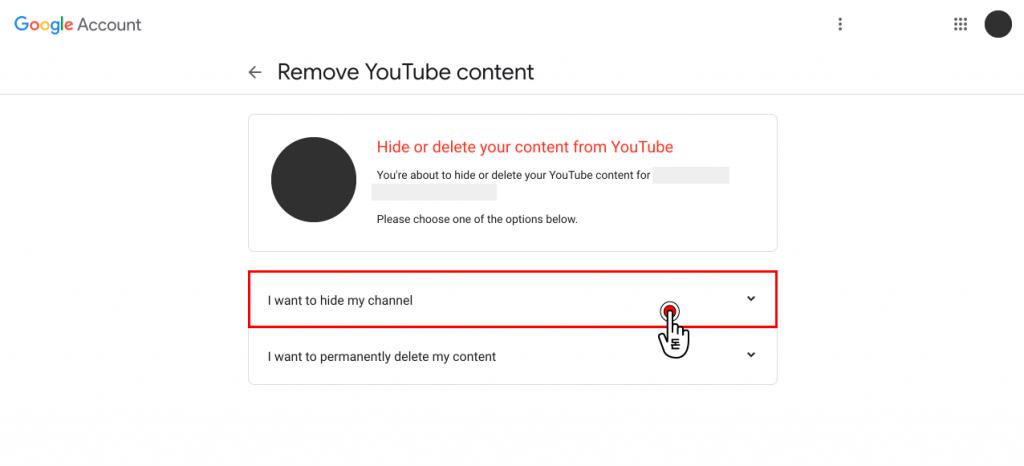 나와있는 옵션 중에서 I want to hide my channel인 채널 숨기기 옵션을 클릭해주세요.