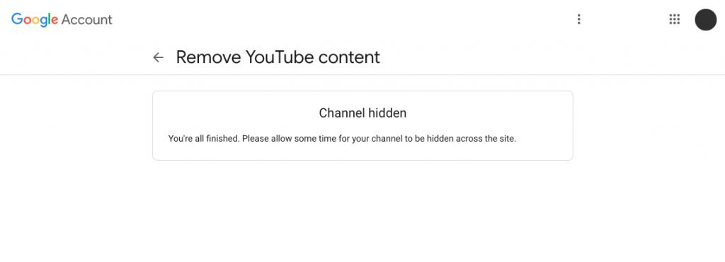 이렇게 유튜브 채널 숨기기가 완료되었습니다. 채널을 다시 복원하기 위해서 다시 자신의 유튜브 채널로 방문해주세요.