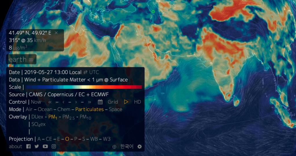 지구: 바람, 날씨, 해양 상태를 나타내는 세계 지도